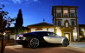 Автомобиль, Обоя, Бугатти, Вейрон, СуперСпорт, Ночь, Свет, Машина, Задок, Двор, Bugatti