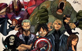 Straw Hat, The Avengers, hulk, man of iron, Captain America, Top, Loki, Luffy, Pirates, shield