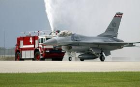 Истребитель, самолёт, аэродром, пожарная