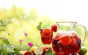 drink, compote, pitcher, decanter, fruit, Berries, lemons, lime, orange, strawberry, cherry, blueberries, glass, Flowers, nature, summer