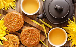 tea, Chinese, kettle, cup, mat, Flowers, Chrysanthemum, cookies, cake, baking, dessert, Tea Party