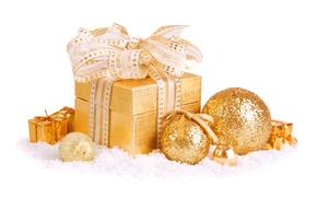 коробка, бант, ёлочные игрушки, вата, Новый год