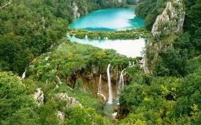 Lac, paysage, cascade, Croatie