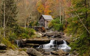Babcock State Park, fort, moulin  eau, rivire, cascade, arbres, paysage