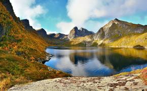 Mountains, nature, archipelago, norway, lake, lofoten