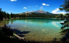 lago, acqua, Canada, Canada, alberi, Montagne, cielo