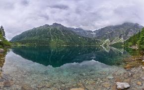 marino occhio lago, Monti Tatra, Polonia, Tatra, Polonia, Montagne, lago, riflessione, pietre