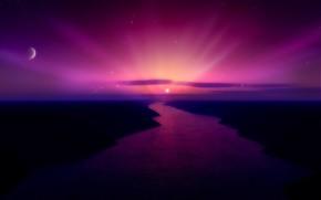 река, солнце, закат, цвет, луна