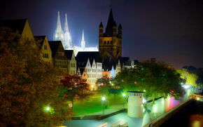 Германия, Фонари, Ночь, Кельн