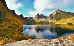 Mountains, lofoten archipelago, norway