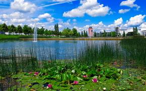 Germany, Munich, pond, clouds, fountain