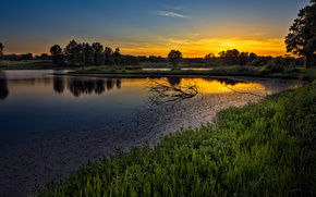 river, sunset, landscape