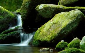 waterfall, stones, nature