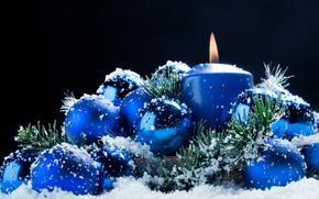 ёлочные игрушки, свеча, огонь, вата, отражения, Новый год