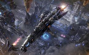 ship, flight, city, future