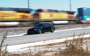 BMW, negro, Vista lateral, ferrocarril, tren, Mancha, Pilares, lnea de transmisin, BMW