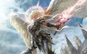 angel, girl, armor, Swords, magic, Halo, light, city, spiers