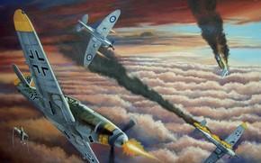 Messer, hit, battle, smoke, picture, Art, clouds