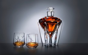 whiskey, decanter, glasses