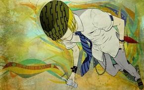 anime, Bleach, guy, bottle, water, tie