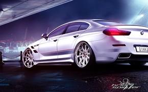 BMW, white, Weather-cloth, Port, night, reflections, bmw