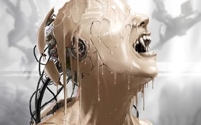 Art, head, robot, Wire, paint, canines, girl, android, streaks