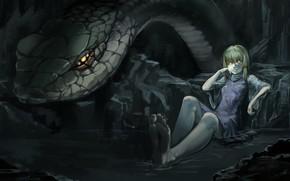 girl, snake, snake, water, cave, blood, burning eyes