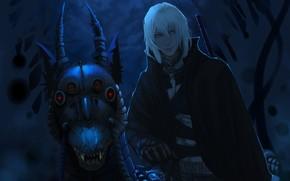 Парень, монстр, ночь, красные глаза, лунный свет, рога, улыбка, оскал, клыки, череп