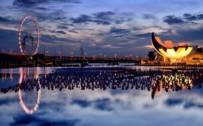 Singapour, Singapour, Ferris Wheel, pont, eau, soire, coucher du soleil, ciel, nuages