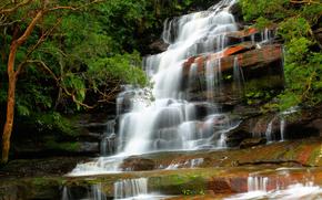 waterfall, Trees, landscape