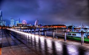 London, england, Great Britain, London, England, United Kingdom, city, night, embankment, road, tile, lighting
