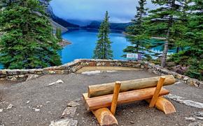 Moraine Lake, Parco Nazionale di Banff, Canada, Moraine Lake, Canada, Banff, panchina, paesaggio, Abete