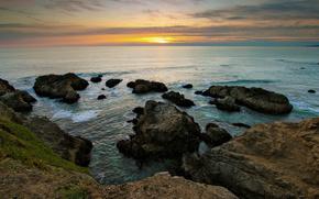 oceano, tramonto, Rocks