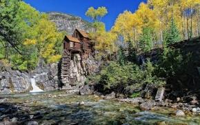 fiume, cascata, capanna, alberi, montagna, autunno, paesaggio