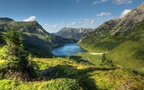 奥地利, 山, 天空, 湖