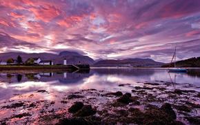 британия, утро, scotland, loch