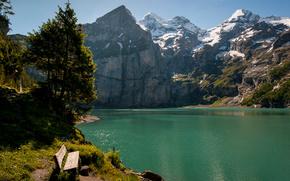 switzerland, switzerland, Mountains, lake, bench, Trees, landscape