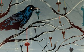 crow, Keys, branch, Ribbons