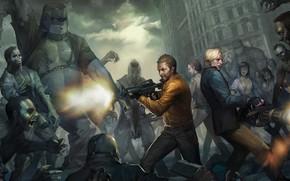 combattenti, arma, scatti, zombie