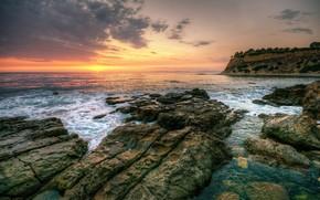 Nature, paysage, ciel, nuages, coucher du soleil, mer