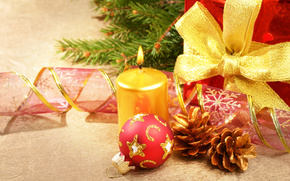candle, ball, red, Tape, Christmas, Jewelry, Toys, Cones, Tree, New Year, Christmas, Holidays, Gifts, New Year