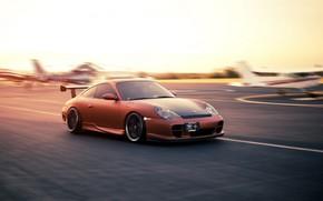 порше, оранжевый, скорость, взлётно-посадочная полоса, аэродром, Porsche