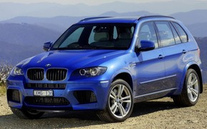 BMW, jeep, crossover, front, blue, Mountains, background, bmw
