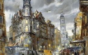 city, Street, St. Petersburg, five corners, evening, lights, lights, rain, machinery, transport, picture, picture, watercolor, Ivan Slavinsky