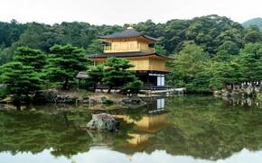 Пагода, деревья, река, япония