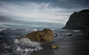waves, water, stones, sand, coast