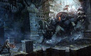 арт, природа, фантастика, игры, монстр, чудовище, воин, сражение, битва, бой