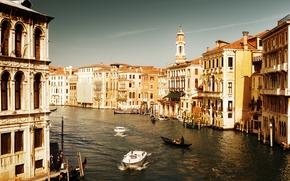 Venecia, Italia, arquitectura, casa, agua, mar, canal, Barco, Gndola, personas