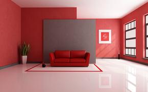 habitacin, sof, planta, florero, ventana