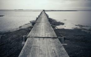 lake, bridge, landscape